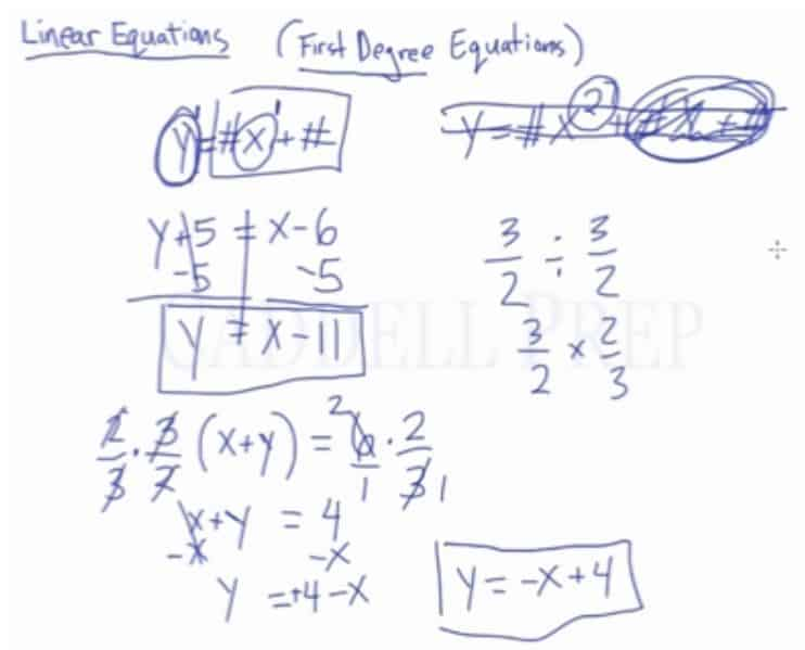 Linear Equations (x and y)