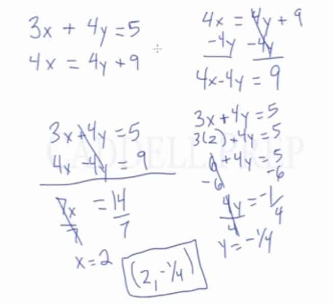 Solving a System of Equations Using Elimination