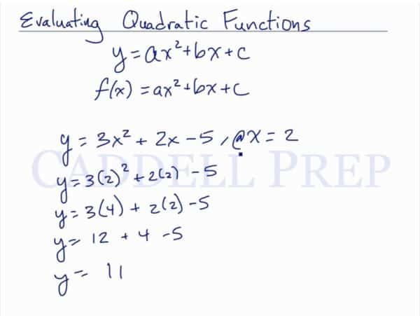 Evaluating Quadratic Functions