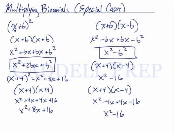 Multiplying Binomials (Special Cases)