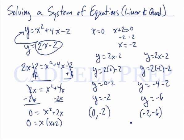 Solving A System Of Equations Using Substitution (Linear & Quadratic)