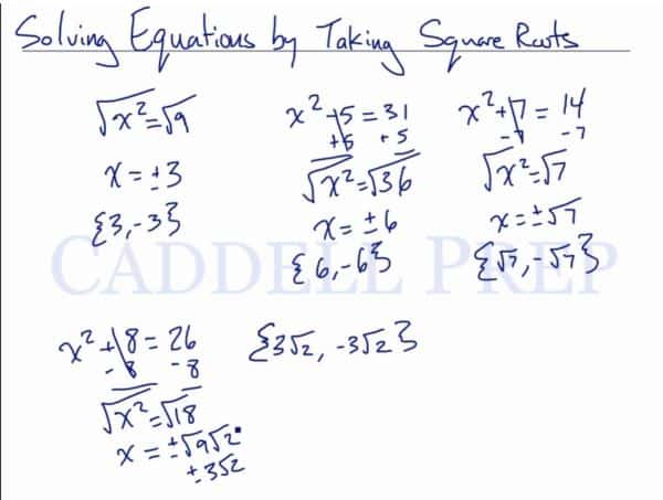 Solving an Equation by Taking the Square Root