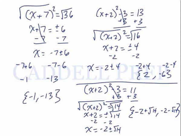 Solving an Equation by Taking the Square Root 2