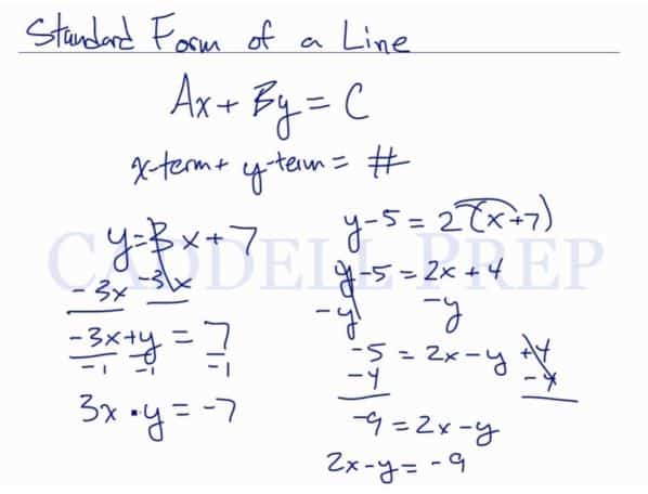 Standard Form of the Equation of a Line