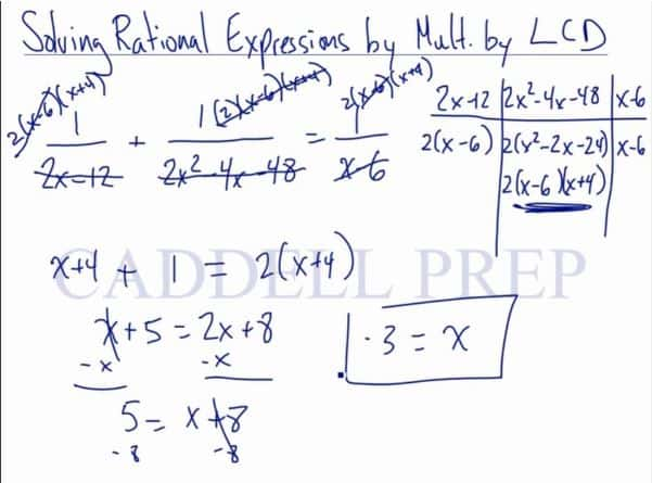 Solving Rational Equations by Multiplying by LCD