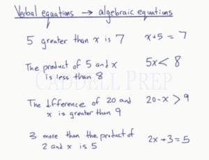 Verbal Equations to Algebraic Equations