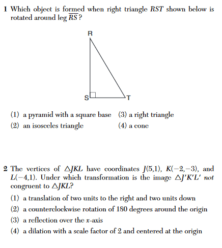 Geometry Regents Sample Multiple Choice Questions
